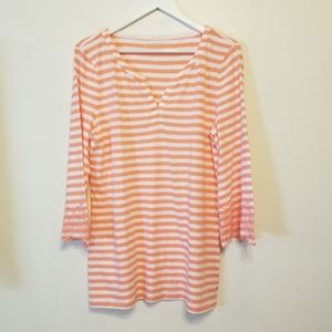 Talbots striped split-neck, embroidered sleeve top
